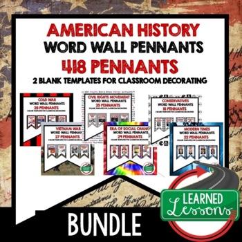 American History Word Wall BUNDLE (418 Word Pennants)