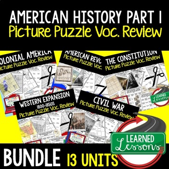 American History Picture Puzzle Unit Review, Study Guide,