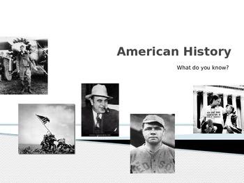 American History Quiz- First Week of School Interactive