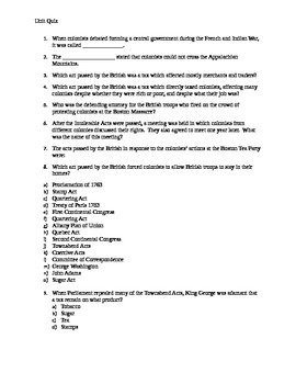 American History Quiz (French and Indian War-beginning of