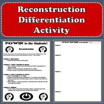 Reconstruction - Differentiation Activity
