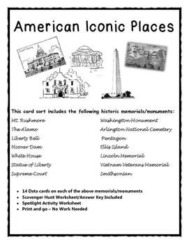 American Landmarks/Monuments Card Sort