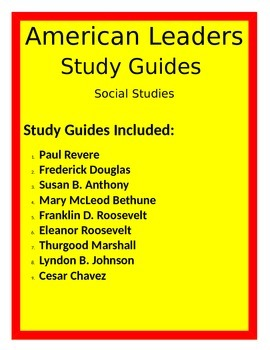 American Leaders STUDY GUIDES 3RD Social Studies