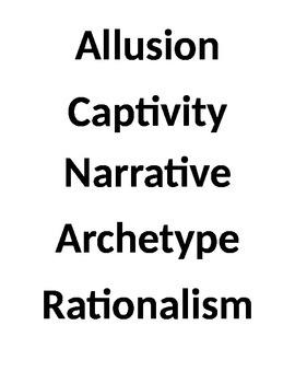 American Literature Puritanism/Rationalism Word Wall