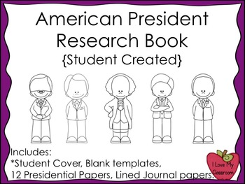 American President Research Book and Writing Journals {Stu
