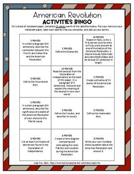 American Revolution Activities BINGO