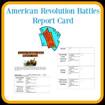 American Revolution Battles Report Card
