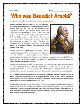 American Revolution - Benedict Arnold - Reading and Questi