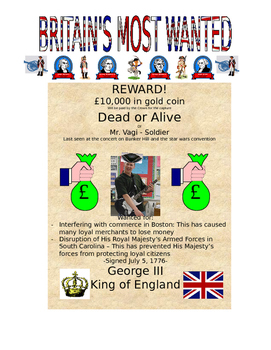 American Revolution: Britain's Most Wanted Poster