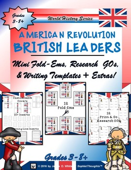 American Revolution British Leaders Research Fold-Ems