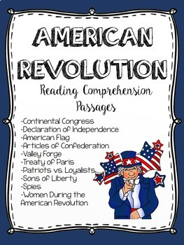 American Revolution Centers Reading Comprehension Activiti