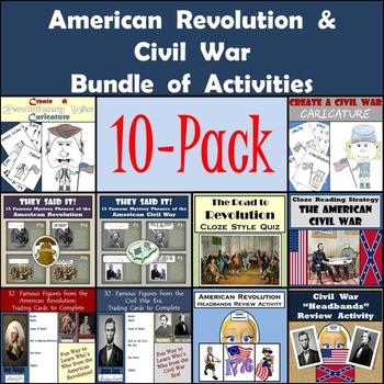 American Revolution & Civil War 10-Pack of Activities - 30