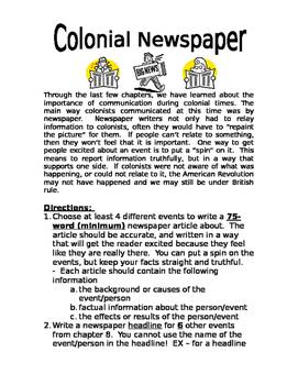 American Revolution: Colonial Newspaper Project - Reportin