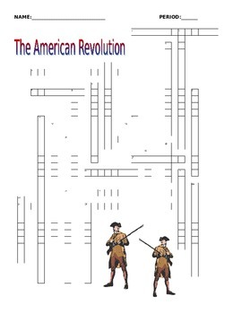 American Revolution Crossword Puzzle 25 terms
