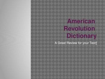 American Revolution Dictionary