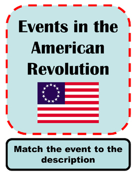American Revolution Events: Matching Activity