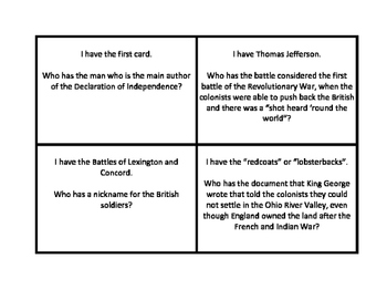 American Revolution I Have...Who Has Review  Cards