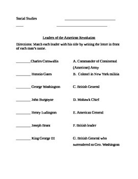 American Revolution Leaders Match-Up