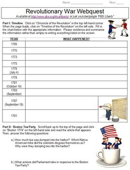 American Revolution PBS Webquest