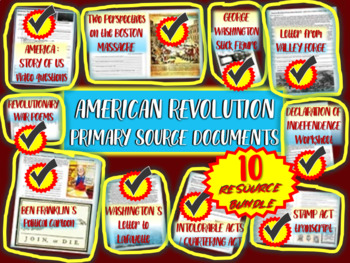 American Revolution Primary Sources: 10-Pack Bundle each w