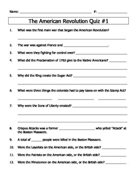 American Revolution Beginning Quiz