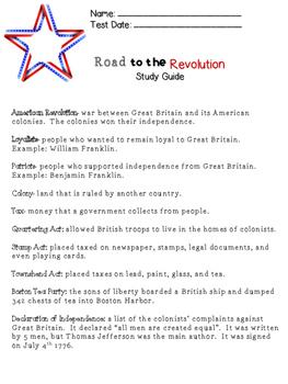 American Revolution Study Guide