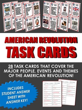 American Revolution - Task Cards - 28 Task Cards for the A
