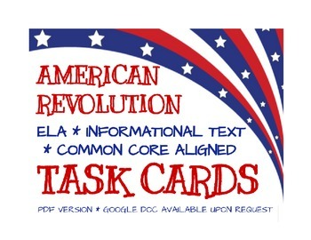 American Revolution Task Cards - Aligned with Common Core
