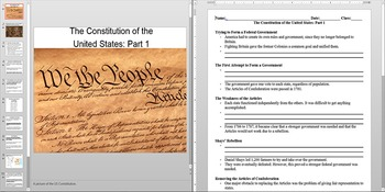American Revolution The Constitution part 1 Powerpoint AND