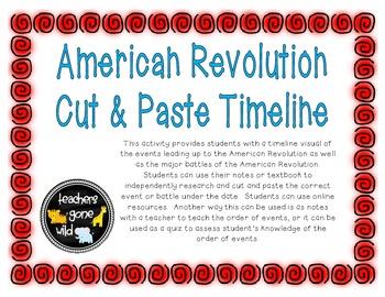 Printables American Revolution Timeline Worksheet american revolution timeline cut paste by teachers gone activity