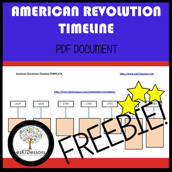 American Revolution Timeline   FREEBIE!   PDF file