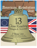 American Revolution Unit, Close Reading Activities, grades 4-5