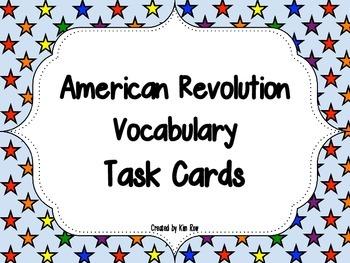 American Revolution - 50 Vocabulary- Task Cards