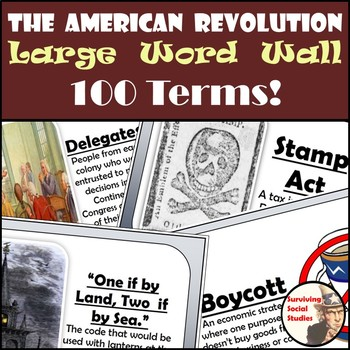 American Revolution Word Wall - 100 Terms/People - Definit