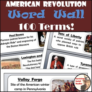 American Revolution Word Wall - 100 Terms/People with Defi