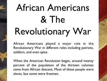 American Revolutionary War - African Americans In The War