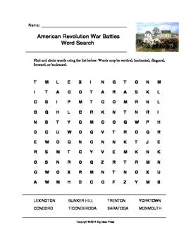 American Revolutionary War Battles Word Search (Grades 2-5)