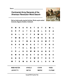 Continental Army Generals of the American Revolution Word