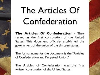 American Revolutionary War - The Articles Of Confederation