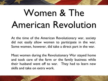 American Revolutionary War - The Women Of The War PowerPoint