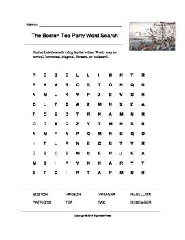 The Boston Tea Party Word Search (Grades 2-5)