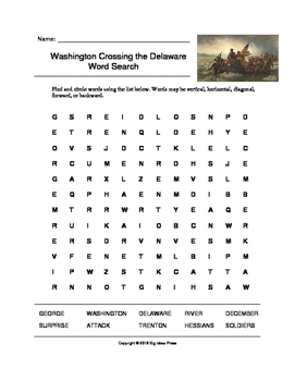 Washington Crossing the Delaware Word Search (Grades 4-5)