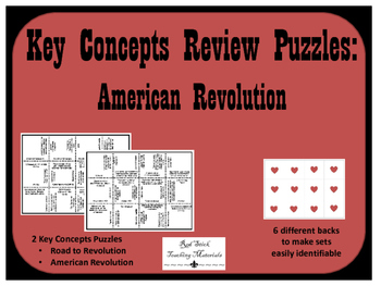American Revoultion Key Concepts Puzzle--Set of 2
