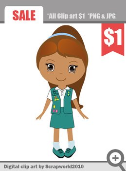 American Scout girls green uniform cut clip art