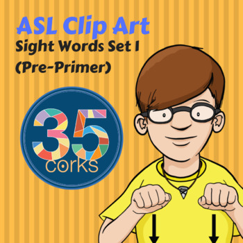 American Sign Language ASL Clip Art - Dolch Words Set 1 -