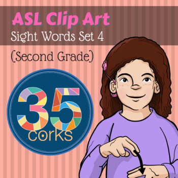American Sign Language ASL Clip Art - Dolch Words Set 4 -