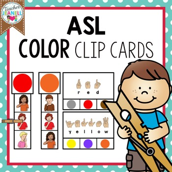 American Sign Language Color Clip Cards