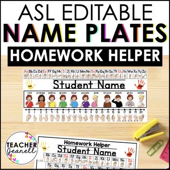 American Sign Language Editable Name Plate and Homework Helper