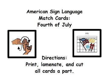 American Sign Language Match Cards: Fourth of July (Gen. E