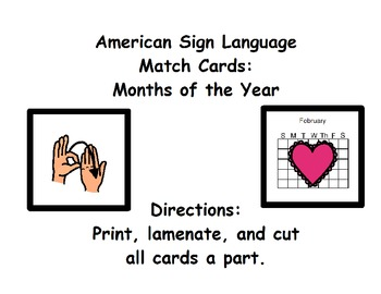 American Sign Language Match Cards:  Months of the Year (G